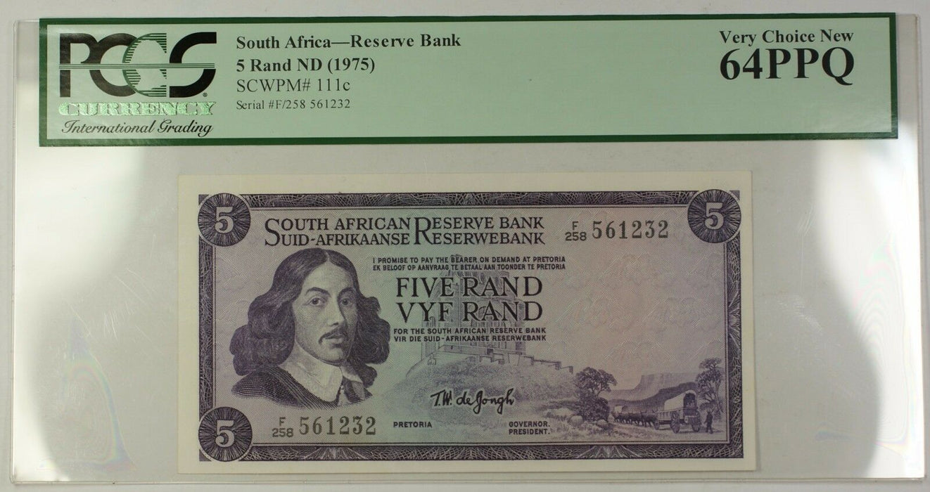 (1975) No Date South Africa 5 Rand Bank Note SCWPM# 111c PCGS Very Choice 64 PPQ