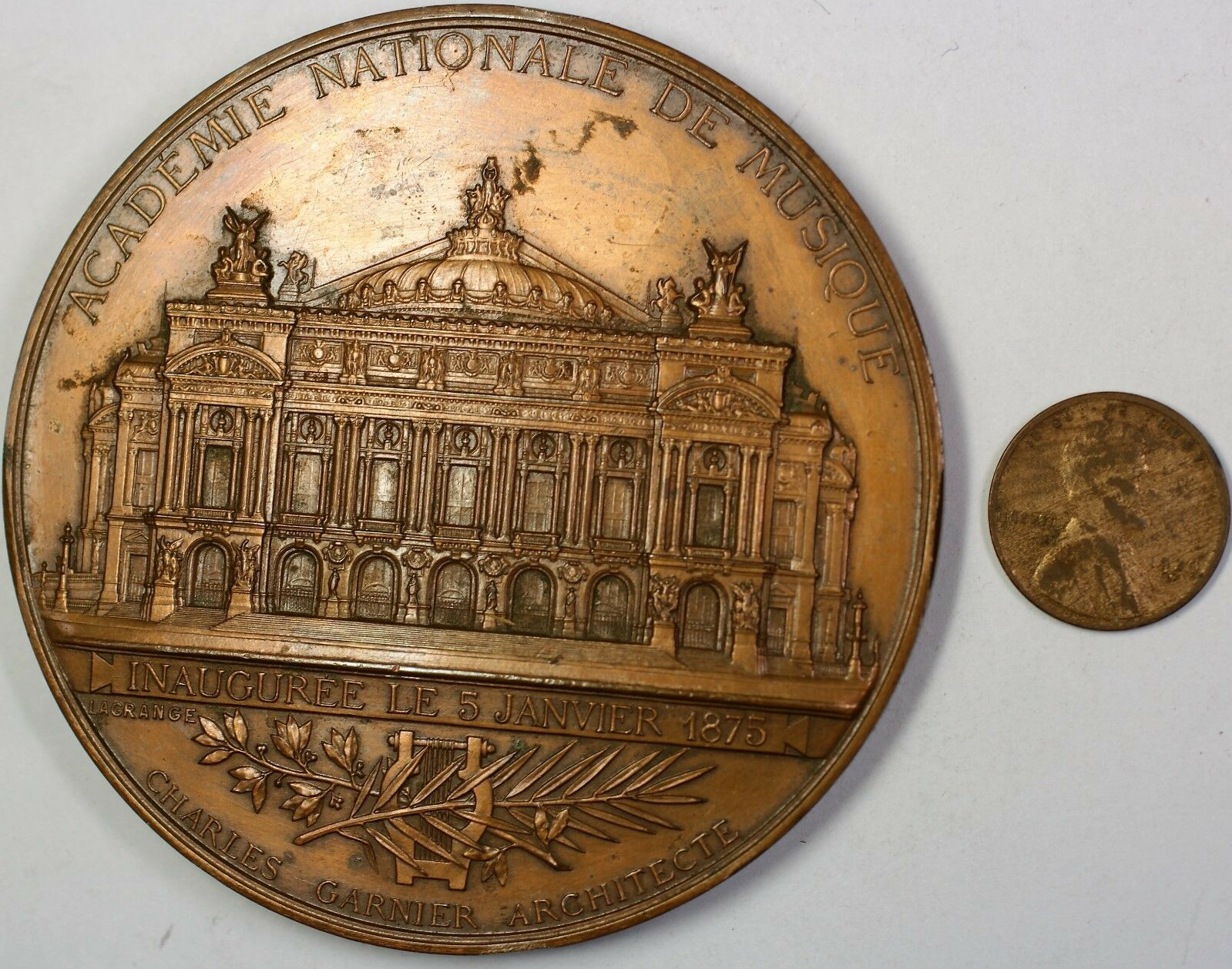 1875 Academie Nationale De Musique Large Commemorative French Bronze Medal