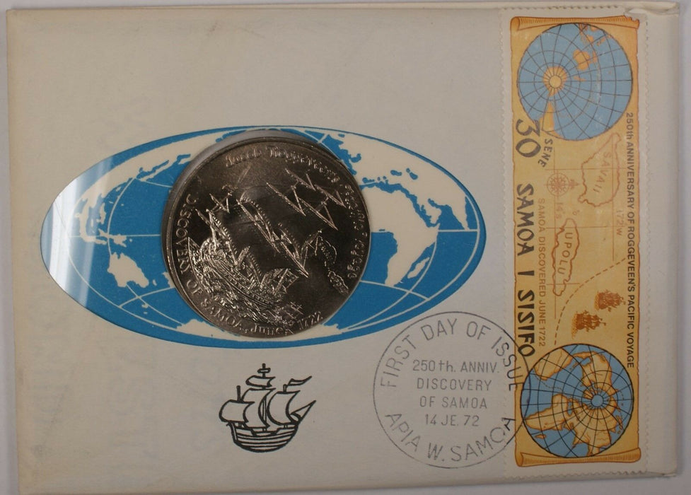1972 Samoa Jacob Roggeveen $1 Dollar UNC Cupro-Nickel Coin in Cover with Stamp