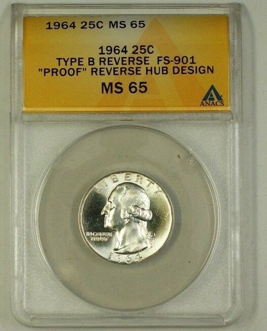 1964 Washington Silver Quarter Coin Type B Rev Hub Design FS-901 ANACS MS-65 B