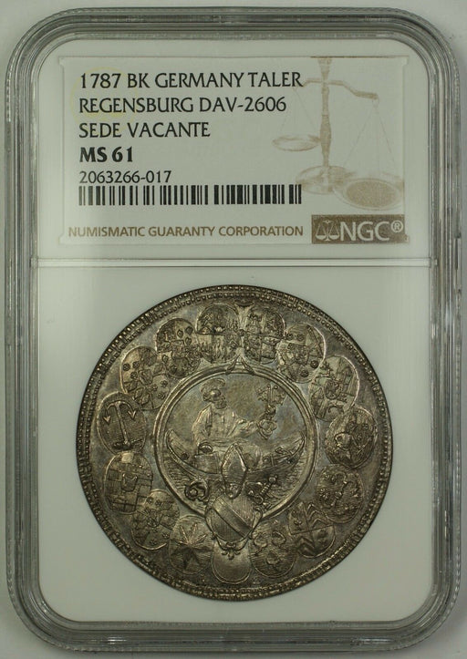 1787 BK Germany Regensburg Sede Vacante Silver Taler Coin DAV-2606 NGC MS-61(PL)