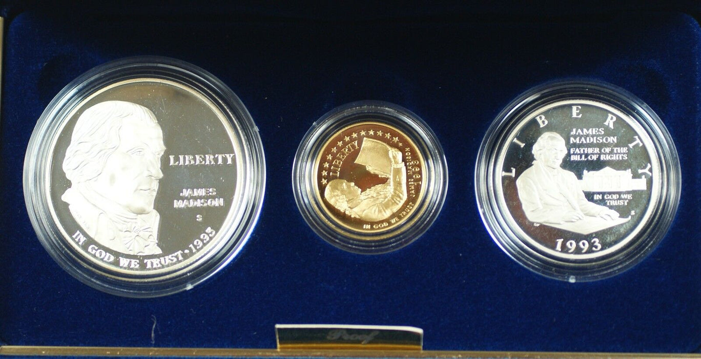 1993 US Mint Bill of Rights Commem 3 Coin Silver & Gold Proof Set as Issued DGH