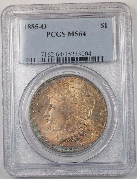 1885-O US Morgan Silver Dollar Coin $1 PCGS MS-64 Toned BR5 R
