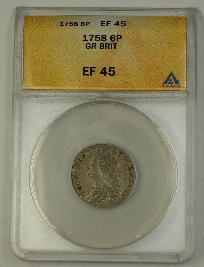 1758 Great Britain Six Pence 6p Silver Coin ANACS EF-45