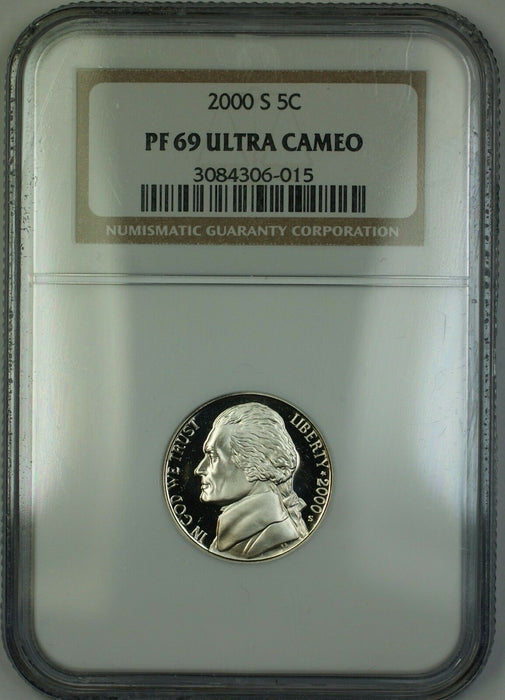 2000-S Proof Jefferson Nickel 5c Coin NGC PR-69 Ultra Cameo