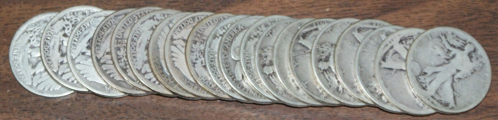 1916 Walking Liberty Half Dollar 50c Roll 20 Circulated 90% Old Silver Coins Lot