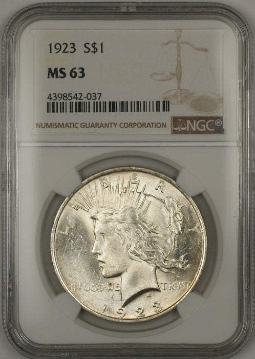 1923 Silver Peace Dollar $1 Coin NGC MS-63 (14a)