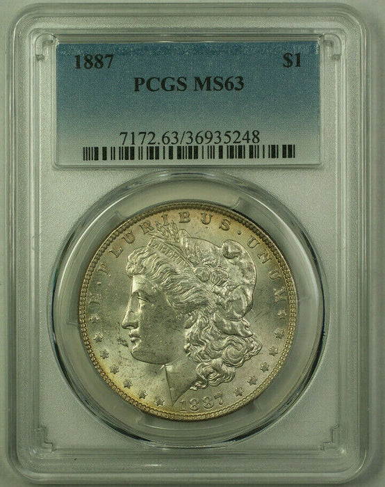 1887 Morgan Silver Dollar $1 Coin PCGS MS-63 Toned Reverse (20) (U)