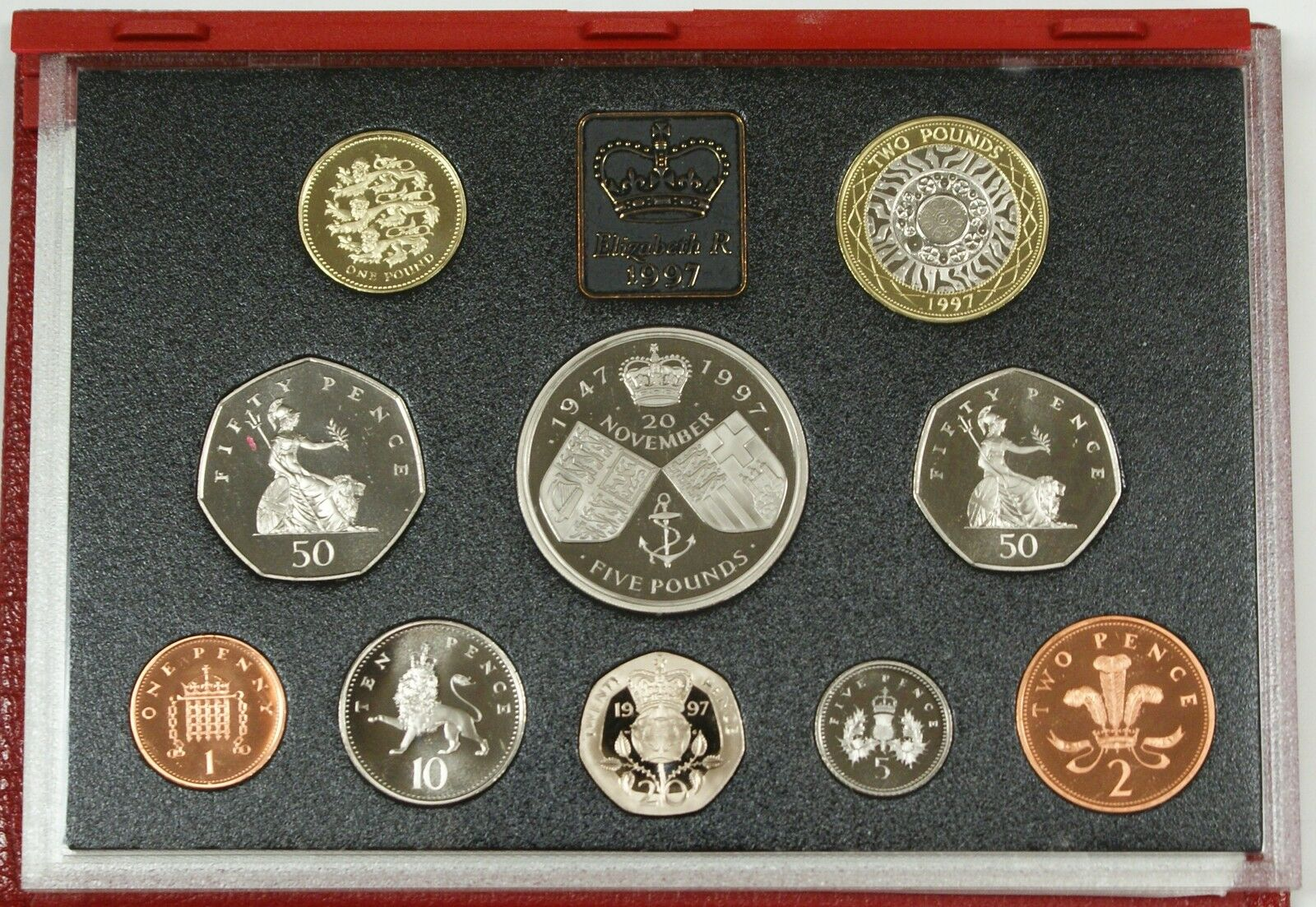 1997 United Kingdom DELUXE Proof Set, GEM Coins, 10 Coins Total, NO Box, W/ COA