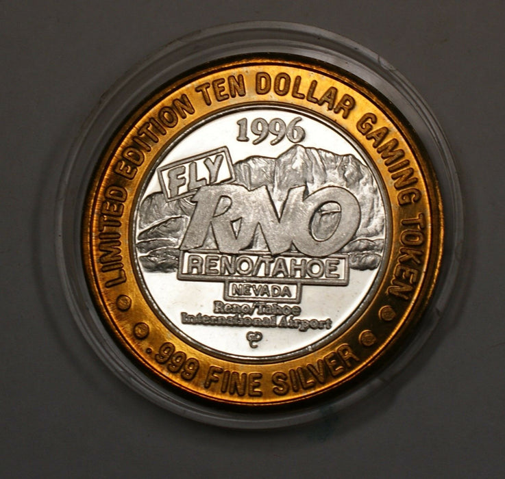 $10 Dollar Reno Airport Int Limited Edition USA Gaming Token Fine Silver Center