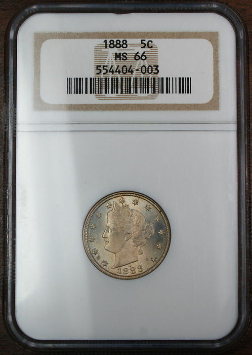 1888 Liberty Nickel Coin, NGC MS-66, Full Strike
