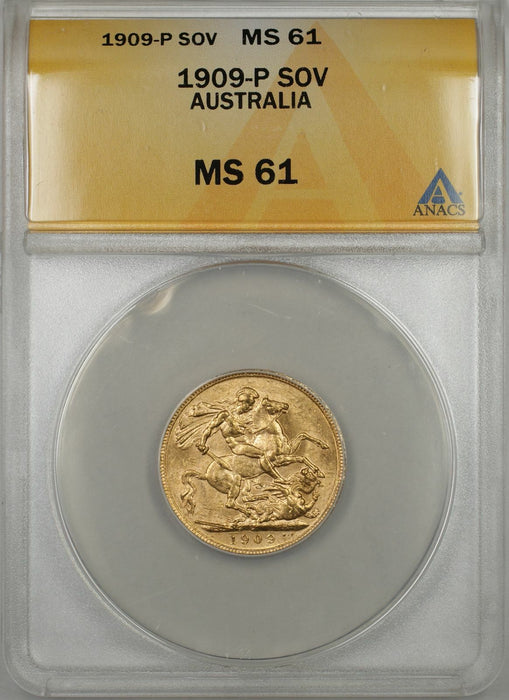 1909-P Australia Sovereign Gold Coin ANACS MS-61 (R AMT)