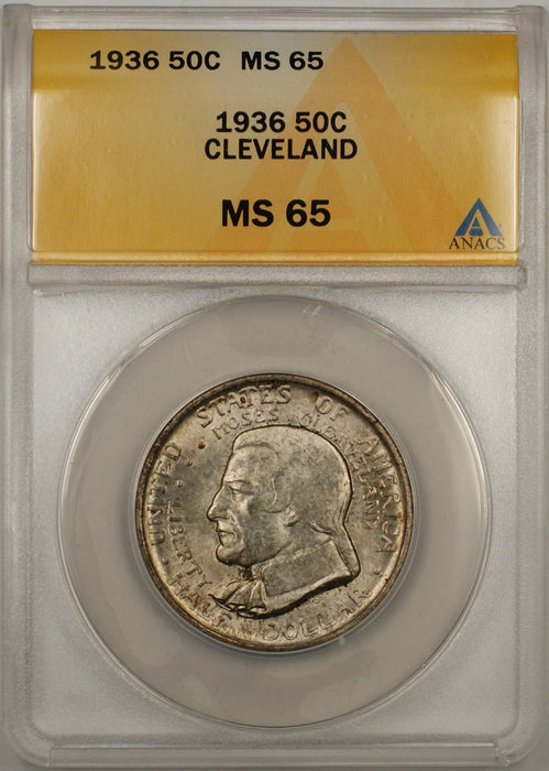 1936 Cleveland Commemorative Silver Half Dollar Coin 50C ANACS MS 65 Toned
