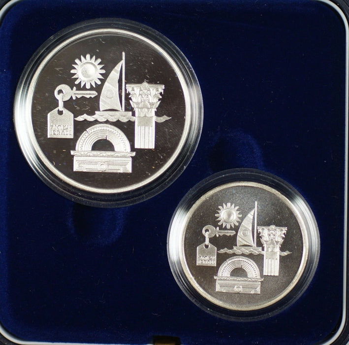 1993 Israel Sheqalim Independence Day 2 Coin Silver Proof & UNC Set w/ Box & COA