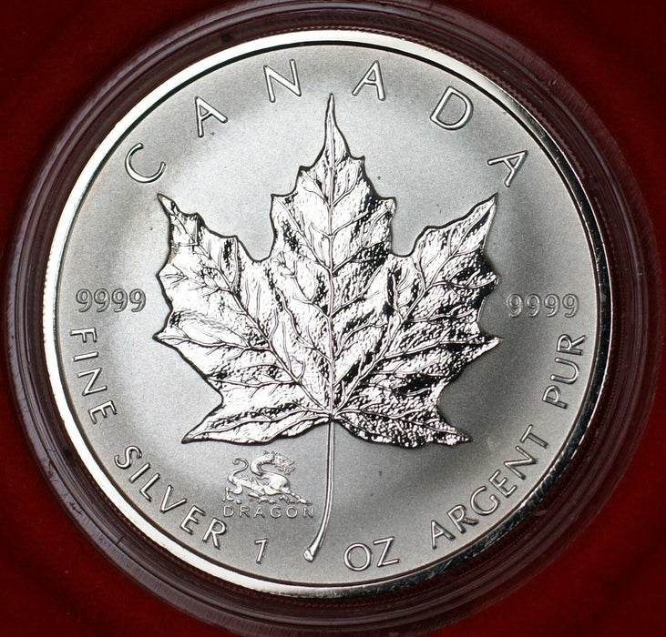2005 Canada $5 Silver Maple Leaf Dragon Coin Original Presentation Box and COA