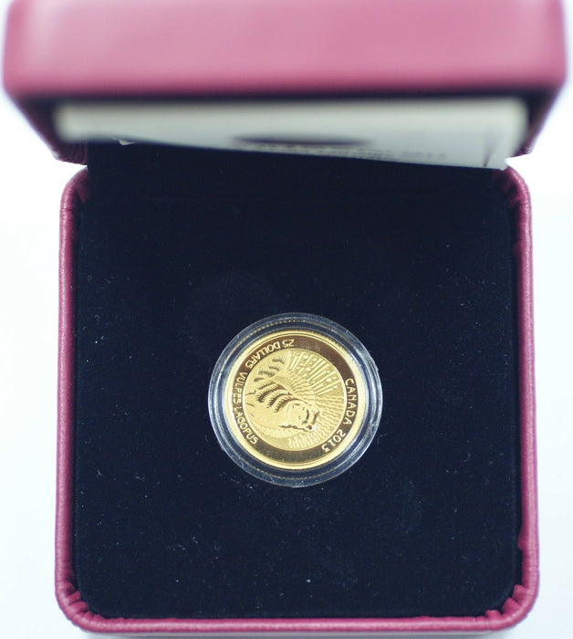 2013 Canada $25 Dollar Proof 99.99% Gold Coin, Artic Fox, In Box w/ COA