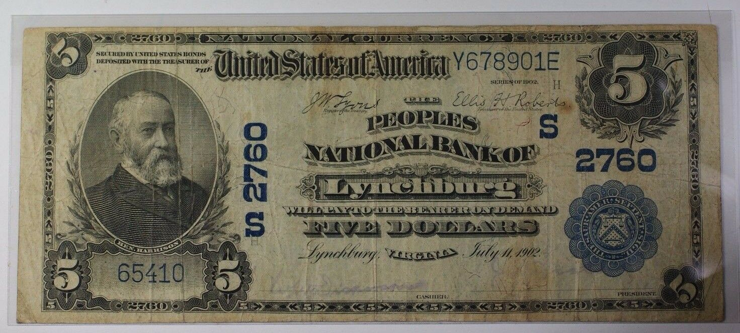 US $5 National Banknote Series of 1902 Lynchburg Virginia Charter #S2760 V Fine