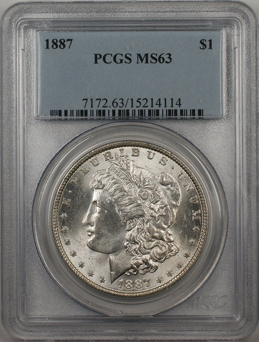 1887 Morgan Silver Dollar $1 Coin PCGS MS-63 (BR-20 K)