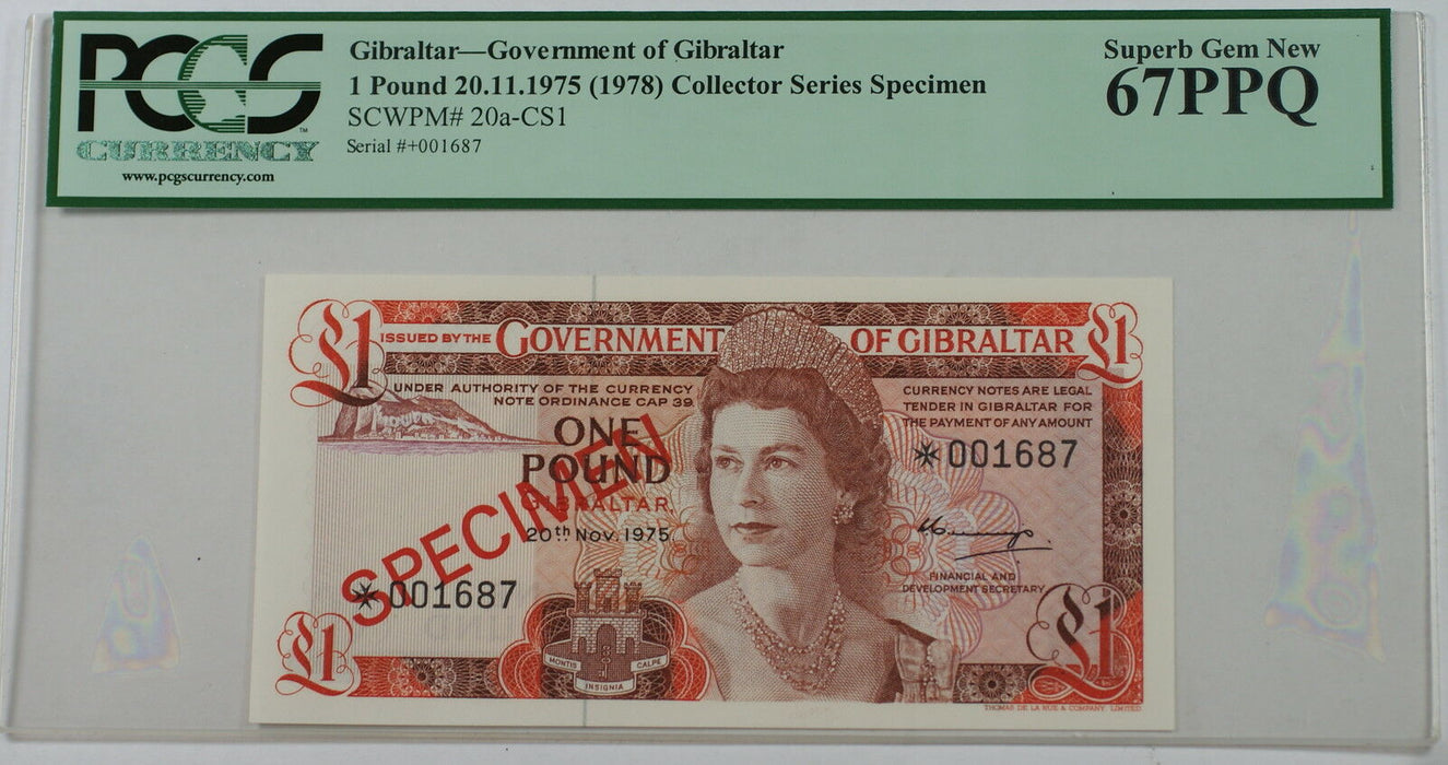 1975(1978) Gibraltar 1 Pound Specimen Note SCWPM# 20a-CS1 PCGS 67 PPQ Superb Gem
