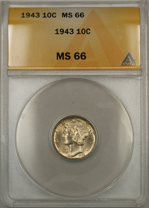 1943 Mercury Dime 10C ANACS MS-66 (Full Split Bands 11 A)