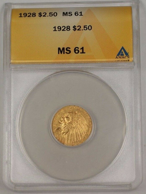1928 US Indian Head Quarter Eagle $2.50 Gold Coin ANACS MS-61