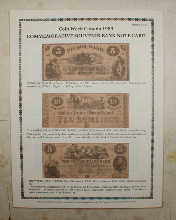 Numismatic Card Company Souvenir Bank Note Card 5$ 10$ 5$ 1882 1859 1861