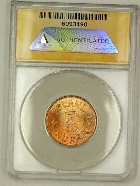 1942 Iceland 5A Five Aurar Copper Coin ANACS MS-64 Red (D)