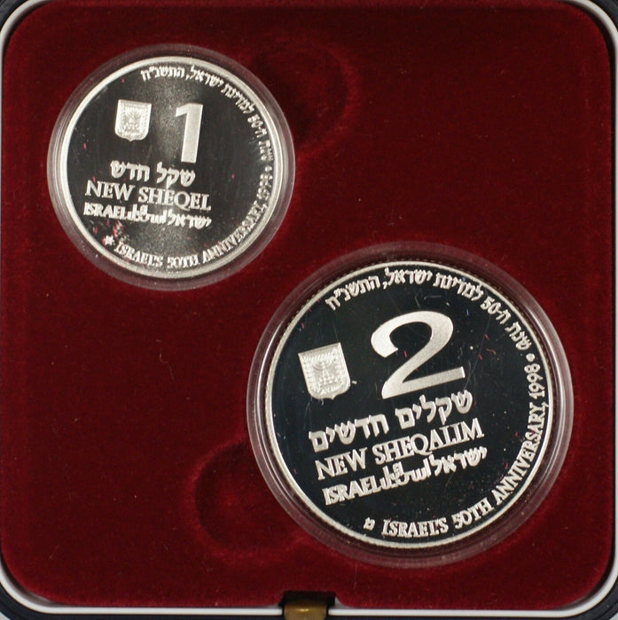 1998 Israel New Sheqalim Jubilee Year 2 Coin Silver Proof & UNC Set NO COA