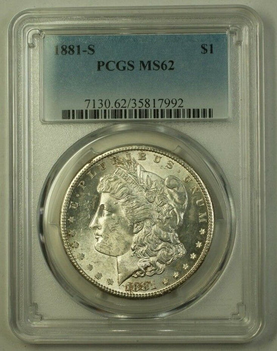 1881-S US Morgan Silver Dollar $1 Coin PCGS MS-62 (H) 9
