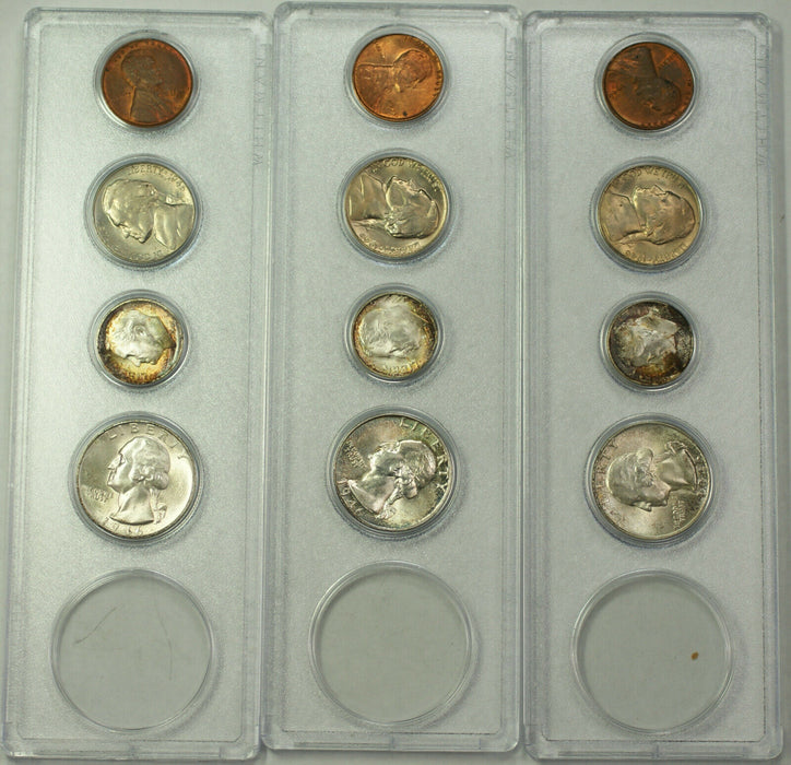 1946 P,D,S UNC Year Sets Silver Beautiful Toning Incomplete *NO Half Dollars*