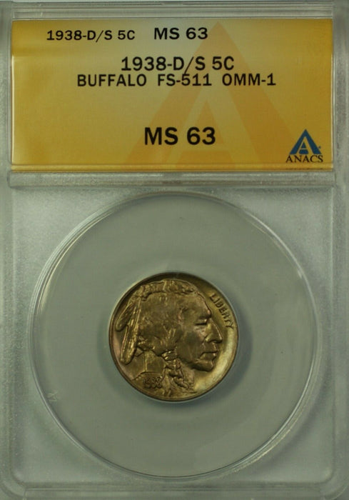 1938-D/D Buffalo Nickel 5c Coin ANACS MS-63 FS-511 OMM-1 Better Coin