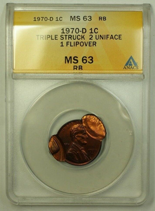 1970-D Lincoln Penny Error Coin Trpl Struck 2 Uniface 1 Flipover ANACS MS-63 RB