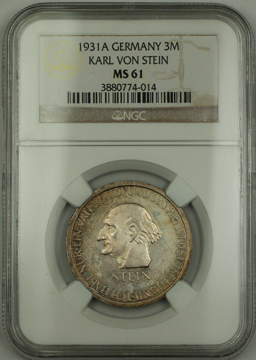 1931-A Germany Three Mark 3M Silver Coin Karl Von Stein NGC MS-61 Toned