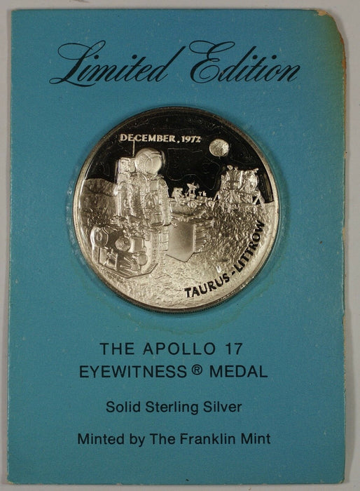 The Apollo 17 Eyewitness Proof Solid Sterling Silver Minted by the Franklin Mint