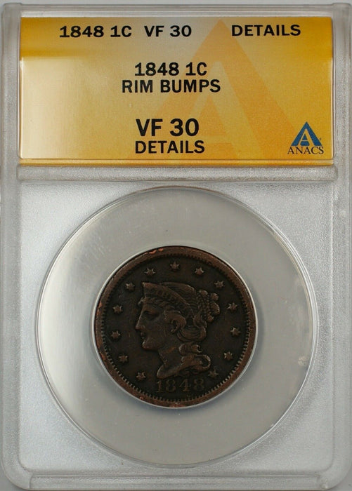 1848 Large Cent 1c Coin ANACS VF 30 Details Rim Bumps (C)