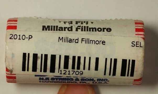 2010-P Millard Fillmore Presidential Dollar Roll BU 25 1$ Coins Bank Wrapped OBW