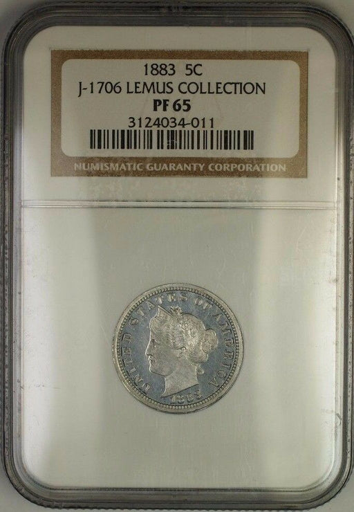 1883 Liberty Nickel Pattern Gem Proof 5c NGC PF-65 *Lemus* J-1706 Judd WW