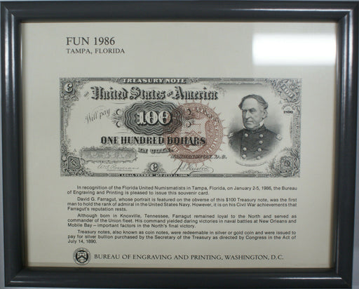 Framed FUN Souvenir Card 1986 BEP B 87 $100 Admiral Farragut Treasury Note