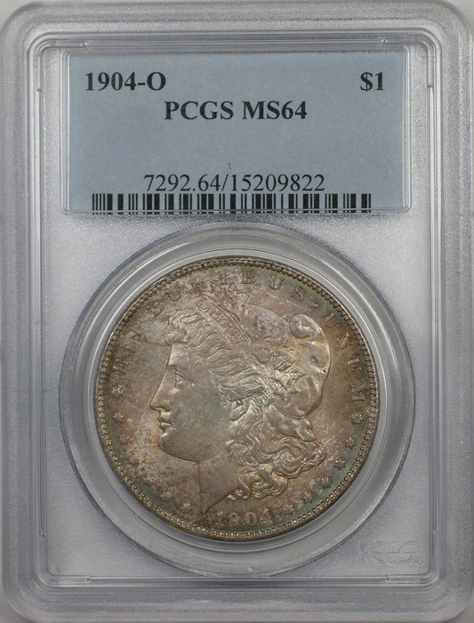 1904-O Morgan Silver Dollar $1 Coin PCGS MS-64 (BR9 B Toned)