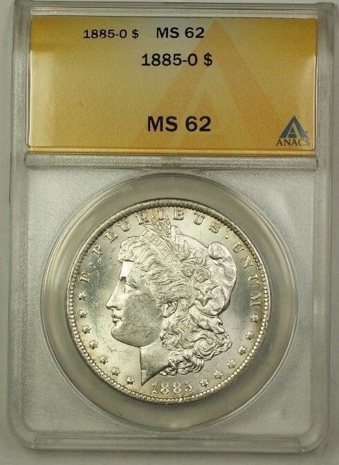 1885-O Morgan Silver Dollar $1 Coin ANACS MS-62 (1)