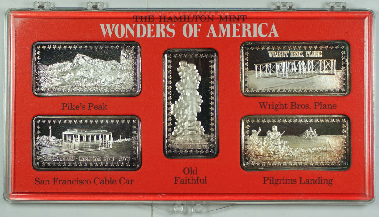 Wonders of America Hamilton Mint .999 Fine 1oz Group II Silver Ingot Collection