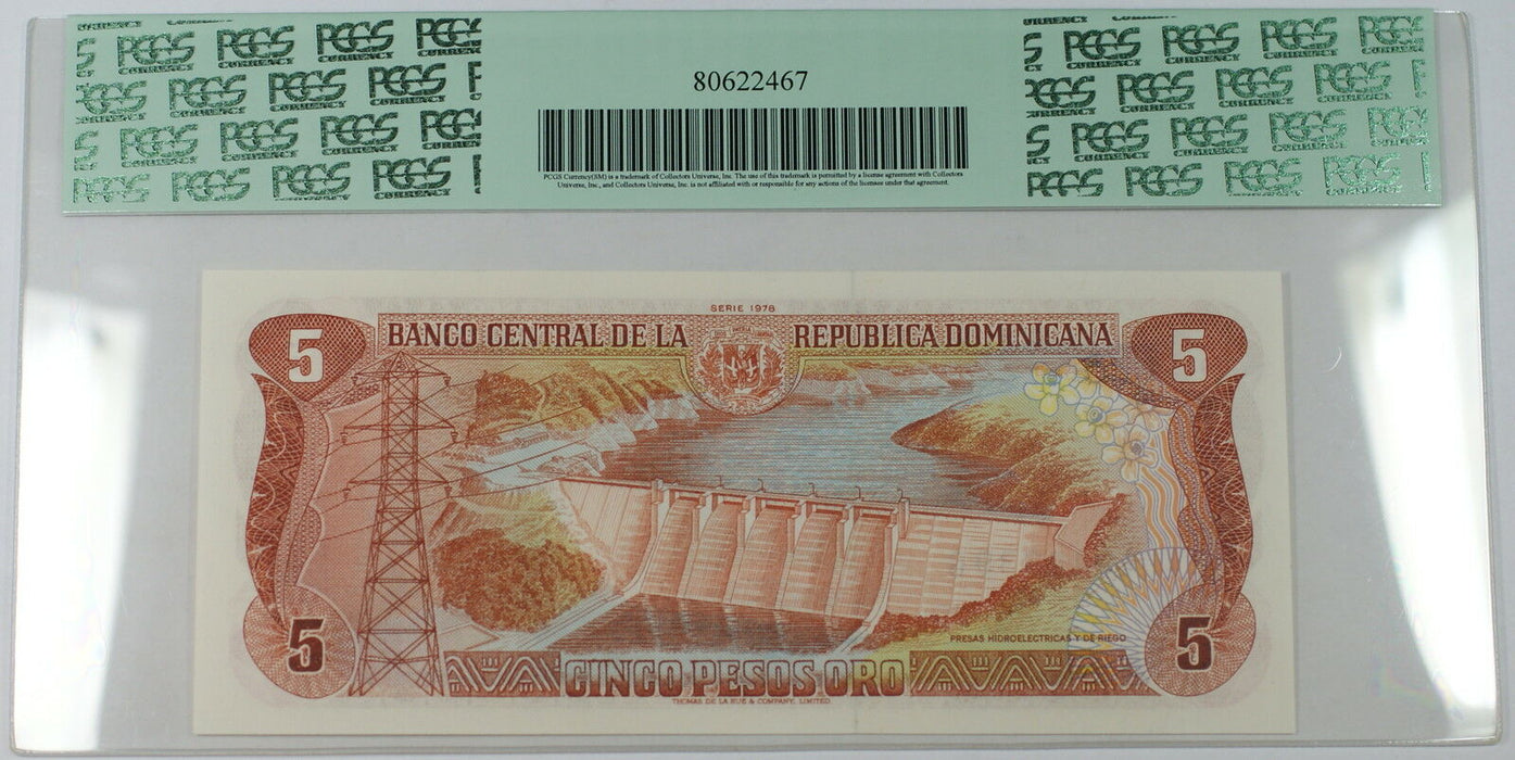 1978 Dominican Republic 5 Pesos Oro Note SCWPM# 118a PCGS 65 PPQ Gem New