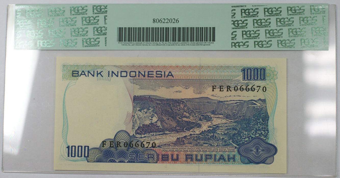 1980 Bank of Indonesia 1000 Rupiah Note SCWPM# 119 PCGS 65 PPQ Gem New