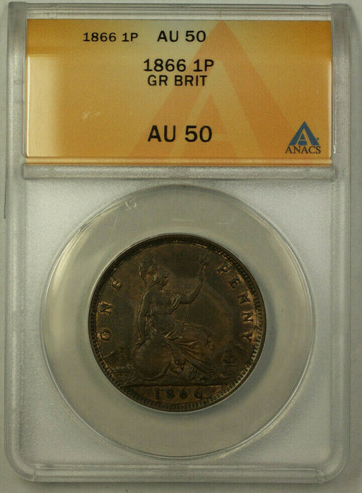 1866 Great Britain 1 Penny Coin Queen Victoria ANACS AU 50