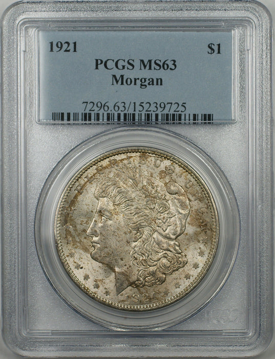 1921 Morgan Silver Dollar $1 Coin PCGS MS-63 Toned (BR-27 L)