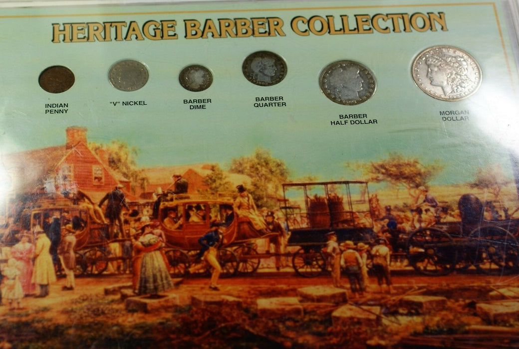 Heritage Barber 6 Coin Collection Morgan $1 4 Silver Liberty Nickel Indian Cent