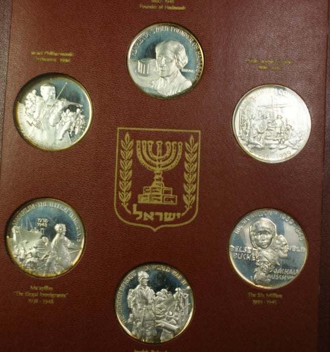 The Birth of Israel 30 Brilliant Uncirculated Silver State Medals Set in Book