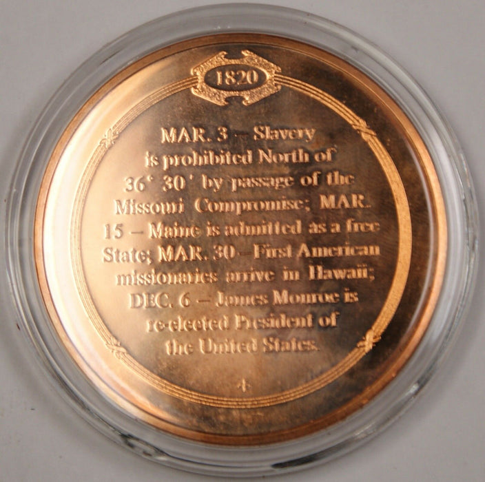 Bronze Proof Medal Missouri Compromise Limits Spread of Slavery March 3 1820