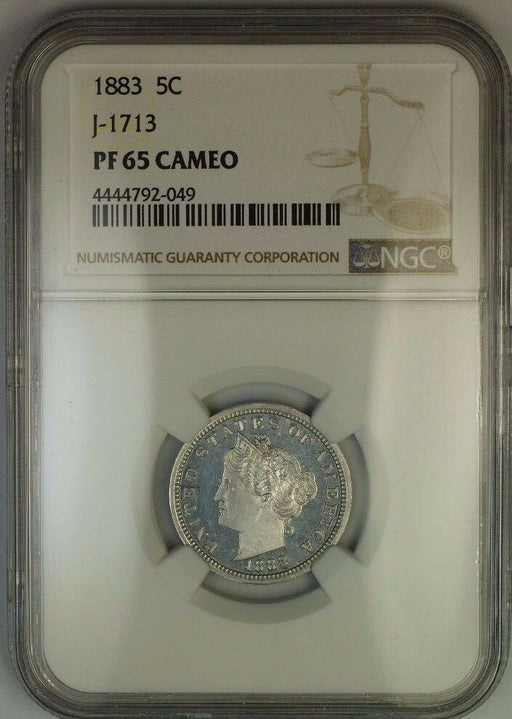 1883 Liberty Nickel Pattern Proof 5c Coin NGC PF-65 CAM Cameo J-1713 Judd WW