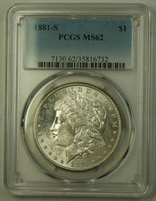 1881-S US Morgan Silver Dollar $1 Coin PCGS MS-62 (F) 9